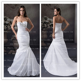 Mermaid Wedding Dress Bridal Gown Rhinestones Crystal Beaded Lace-up Chapel Train Sleeveless