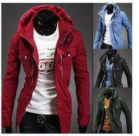 Wholesale 2014 Fashion Korean Autumn Men s Jacket Hooded More Pocket Zipper Middle Length Style Casual Men Jackets Outdoor Coat J404