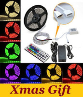 Wholesale Best Christmas Lights Waterproof RGB Led Light Strips M Leds IR Remote Controller V A Power Supply With EU US AU UK Plug