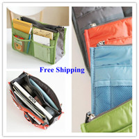Wholesale New Women Cosmetics Bag Travel Insert Handbag Purse Large liner Organizer Bag Storage Bags Amazing Colors Nice Christmas Gift