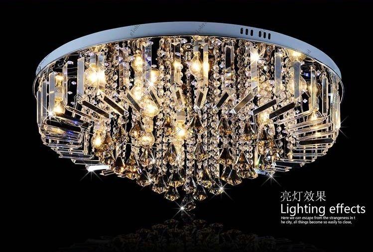 Dia 60cm 80cm Led Rgb Chandelier Modern Crystal