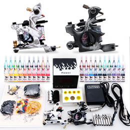 Wholesale Tattoo Kit guns machines Complete with Inks sets Power Supply disposable Needle Grips tips arrive within days D238