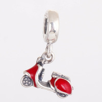 Wholesale Red Women s Motorcycle solid silver european style charms sterling silver beads with threaded fashion fit european bracelets LW258