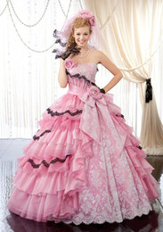 Wholesale 2014 Strapless Pink Ball Gown Quinceanera Dresses with Handmade Flowers Bow Embroidery Crystals Lace Tulle Summer Beach Prom Pageant Dresses