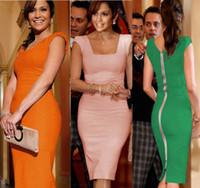 Casual Dresses Bohemian Dresses Autumn FEIBUSHI Women's Pink Orange Green Elegant Summer Sleeveless Square Collar Back Full Zipper Bodycon Midi Party Pencil Plus Size Dress