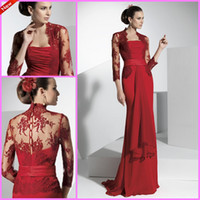 Wholesale Most Popular Fashion Strapless Pleated Bodice Ribbon Floor length Red Chiffon Elegant Mother of the Bride Dresses with Lace Jacket Hot