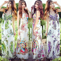 Casual Dresses Spaghetti Ankle Length New Elegant Womens Padded Boho Bohemia Floral Halter Neck Maxi Long Dress