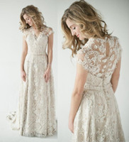 Wholesale 2014 Lace Back Wedding Dresses A Vintage Inspired Lace Back Wedding Dress Glamorous with Short Sleeves Summer Beach Wedding Gowns B O1081