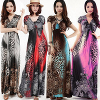 Wholesale Sexy Womens Animal Leopard Print V Neck Cocktail Party Evening Maxi Long Dress