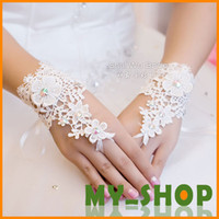 Wholesale Bridal Gloves Fashion Flowers Short About CM Bridal Wedding Accessories Lace Rhinestone Fingerless Wedding Gloves HQ0105