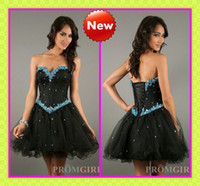 Wholesale 2013 Short Vintage Black Homecoming Dresses Shiny Beaded Corset and Tulle Mini A Line Gothic Party Wear Girls Formal Evening Dresses Cheap