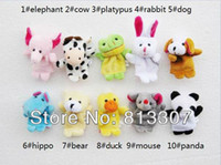 Unisex 0-12 Months Video Games Free Shipping 10 pcs lot, Baby Plush Toy  Finger Puppets Tell Story Props(10 animal group) Animal Doll  Kids Toys  Children Gift