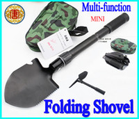 Wholesale Mini Multi function Folding Shovel Survival Trowel Dibble Pick compass bottle opener saw