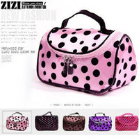 Wholesale Promotion Hot Cute Double Zipper Dot Cosmetic Box Makeup Bag Coin Pouch Make Up Storage Organizer Case Hand Clutch with Mirror