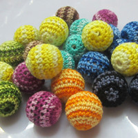 Wool Woven Beads acrylic striped beads - Chunky Beads Mixed mm Acrylic Woven Striped Crochet Beads For Chunky Necklace