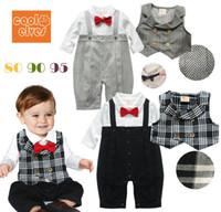 Cheap 11230 boys gentleman outfits children long sleeve romper + vest 2pcs sets baby cool garment popular autumn clothing grey black ttgmy