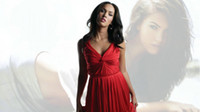 Sleeveless Ruffle A-Line 2013 Customized Megan Fox Celebrity Evening Dresses Sexy Red Chiffon V-Neck A-Line Crisscross Ruched Knee-Length HD1080P