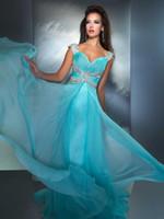 Empire Modern Sequin Big Discount 2014 Zipper Sweetheart Cap sleeve Chiffon Aqua Evening Prom Dress TB018