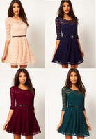 Runway belted shift dress - Sexy Gorgeous Women Girls Fashion Shift Dress Celebrity Jacquard Lace for Party Cocktail Shift Dresses Slim Short dress with Free Belt