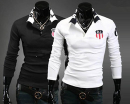 Wholesale New arrive free shi Men s Stylish Slim Fit Casual Shirts Long Sleeve T shirts polo shirt size black white grey