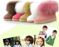 Winter Snow Boots Ankle free shippingWaterproof children short ugg boots boots imitation fox fur boy's girl's boots