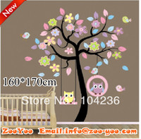 Graphic vinyl baby room decals tree - ZooYoo AB cm Nursery Baby Wall Sticker Owls Swing in Big Tree Decor In Baby Room Professional Wall Decal Manufacturer