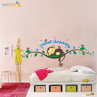 Wholesale ZooYoo Original Cute Monkey Sweet Dream Hot Selling Wall Decals Removable Stickers Decors Art Kids Nursery Room