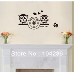 Wholesale New ZY820 Couple Owl Clock Cartoon Love Metal Clock Wall Sticker Decor Clock ZooYoo Removable Wall Decals