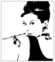 audrey hepburn wall - AUDREY HEPBURN Silhouette Wall Vinyl Stickers Art Decal Reusable amp Removable Decal Black Size quot H x quot W ZooYoo8107