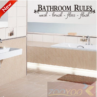 Graphic vinyl bathroom discounts - Discount Off ZooYoo8044 cm Bathroom Rules English Quote Window Car Stickers Vinyl Wall Art Decals Home Decor