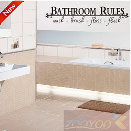 Wholesale Discount Off ZooYoo8044 cm Bathroom Rules English Quote Window Car Stickers Vinyl Wall Art Decals Home Decor