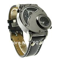 Men's aviator watch bands - Drop Original Brand New Russian Aviator Pilot Army Military Quartz Mens Wrist Watch Dual time black leather band