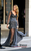 Wholesale Gossip Girl Blake Lively Zuhair Murad Long Sleeves Lace Grey Evening Dresses Evening Gown Prom Dress MDe908