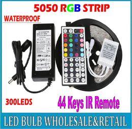5M 300 Led SMD 5050 RGB led Strip Light Flexible Waterproof + 44key Remote + 12V Transformer For Home Decoration Freeshipping