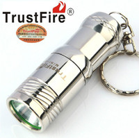 Wholesale Trustfire MINI Stainless keychain Flashlight LM Modes CREE T6 LED CR123A Battery plastic box Packaging