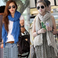 Wholesale Korean Winter Wild Cotton Solid Color Fold Long Scarves Shawls Women