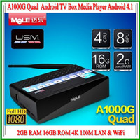 Wholesale Mele A1000G Quad Core Smart TV Box Android Allwinner ARM CortexA7 GB RAM GB ROM K Video Decoding LAN WiFi