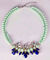 Wholesale New Fashion Turquoise Beaded Chokers Necklace Double Chain Gem Flower Pendant Statement Necklaces For Bride