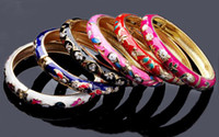 Wholesale Jewelry Mix Color Style Cloisonne Enamel Bangles Bracelets Wristband Cuff B396M