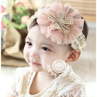 Headbands Lace Floral Baby Headbands Girl hairbands With Lace Chiffon Flower Children Hair Accessories Net Yarn Flower Hair Bow Handmade Headbands 20pcs