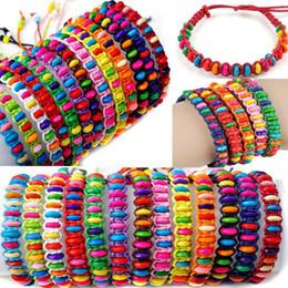 Wholesale 60pcs colors Mix Wood Beads Braid Handmade Fashion Friendship Bracelets Women Jewelry Free B606M