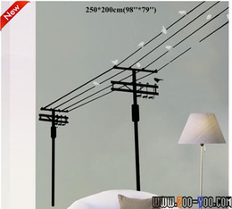 Wholesale Black Color Electric Pole With Birds cm Large decal inch Removable Modernism Wall Sticker Factory