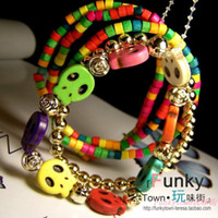 Charm Bracelets   Multi-colored beaded bohemia accessories natural turquoise skull wood bead bracelet female 5 piece set