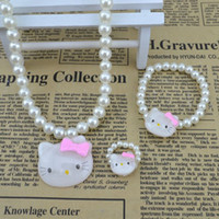 Wholesale Jewelry For Girls Imitation Pearls Necklace Jewelry For Kids Light Pink Jewelry Styles Sets