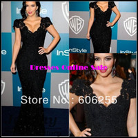 Reference Images Sweetheart Organza Kim Kardashian 2014 Mermaid Cap Sleeves Prom Gown Sweetheart Beads Black Lace Floor Length Zipper Back Evening Dresses 5091