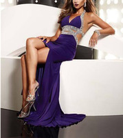 Elastic Satin Sleeveless Sweep Train Wow ! So Sexy Beaded Purple Halter and backless Elastic Satin Evening Prom Formal Dress Gown