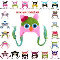 Wholesale 5pcs New Owl EarFlap Crochet Hat Color Baby Kids Wool Weaving Hat Hand woven Baby Hat Knitting Wool Children Hat Animal prints Hat