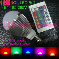 Wholesale High power W E27 RGB LED Lamp AC100 V led Bulb Lamp with Remote Control multiple colour led lighting