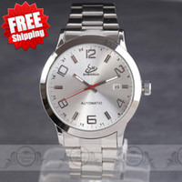 Wholesale Concise Steel Bezel hour clock Calendar Dial mens automatic watch Mechanical Stainless Steel Band Wrist Watch