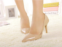 Wholesale Bran New Patent PU Candy Color Pink Nude Black D Orsay Pointed Toe Stiletto High Heels Pumps